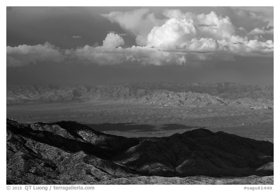 Desert mountains and afternoon clouds, Rincon Mountain District. Saguaro National Park (black and white)