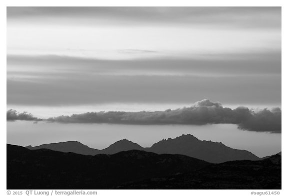 Mountains and clouds at sunset, Rincon Mountain District. Saguaro National Park (black and white)