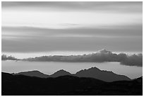 Mountains and clouds at sunset, Rincon Mountain District. Saguaro National Park ( black and white)