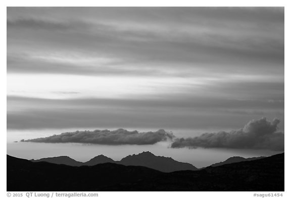 Mountains and clouds past sunset, Rincon Mountain District. Saguaro National Park (black and white)