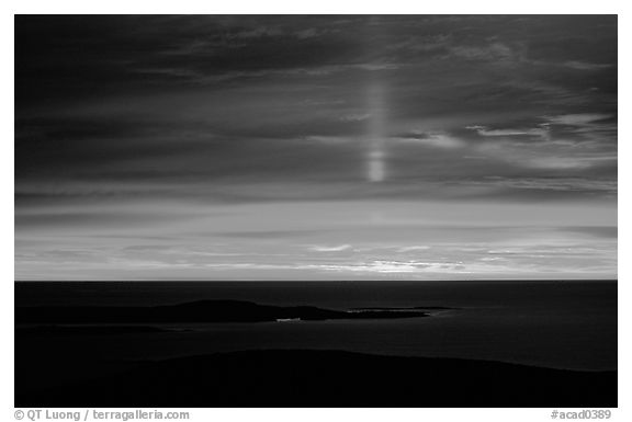 Sun pillar from Cadillac mountain. Acadia National Park (black and white)