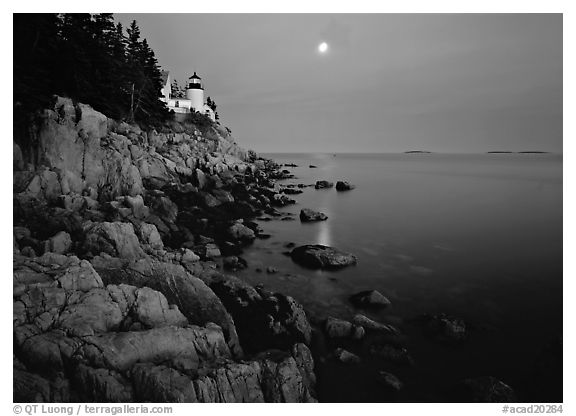 Bass Harbor Lighthouse, moon and reflection. Acadia National Park (black and white)