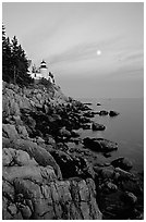 Bass Harbor lighthouse, sunset. Acadia National Park, Maine, USA. (black and white)