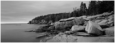 Rocky ocean coast at sunrise, Otter Point. Acadia National Park (Panoramic black and white)