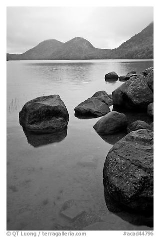 Boulders and the Bubbles, Jordan Pond. Acadia National Park (black and white)