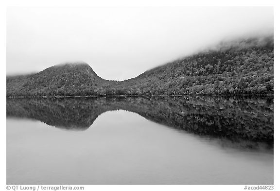 Hills, reflections, and fog in autumn, Jordan Pond. Acadia National Park (black and white)