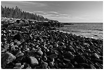 Coastline with boulders, late afternoon, Schoodic Peninsula. Acadia National Park ( black and white)