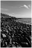 Round bouders, low tide coastline, Schoodic Peninsula. Acadia National Park ( black and white)