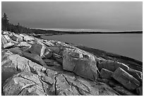 Granite slabs on coast, sunrise, Schoodic Peninsula. Acadia National Park ( black and white)