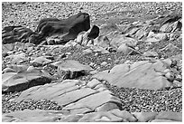 Slabs and pebbles on beach, Schoodic Peninsula. Acadia National Park, Maine, USA. (black and white)