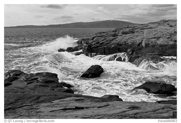 Wave, Schoodic Point, and Cadillac Mountain. Acadia National Park (black and white)