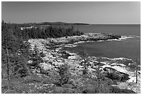 Isle Au Haut shoreline. Acadia National Park, Maine, USA. (black and white)