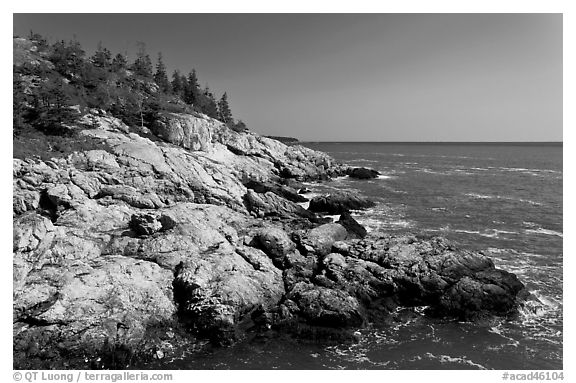 Rocky coast and blue waters, Isle Au Haut. Acadia National Park (black and white)