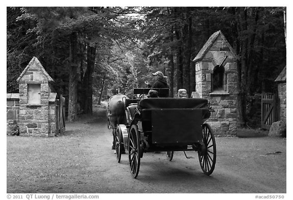 Carriage passing through carriage road gate. Acadia National Park (black and white)