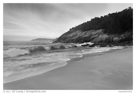 Ocean surf and Sand Beach. Acadia National Park (black and white)