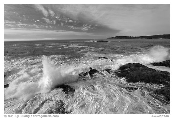 Surf breaking over rocks. Acadia National Park (black and white)