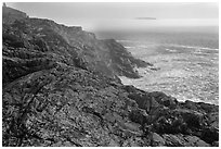 Coastline and offshore fog. Acadia National Park ( black and white)