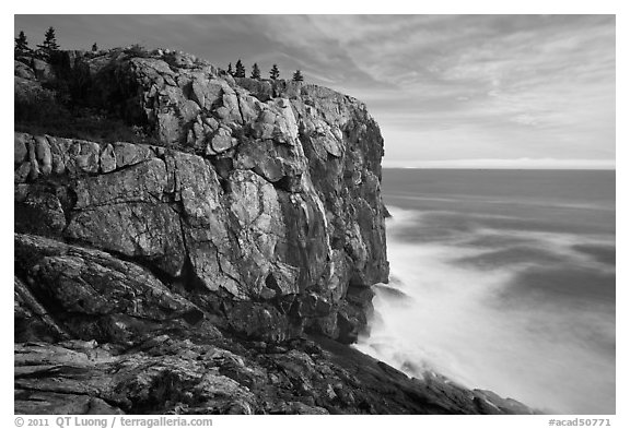 Sea cliff and blurred ocean water. Acadia National Park (black and white)