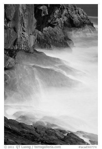 Blurred water at base of Great Head. Acadia National Park (black and white)