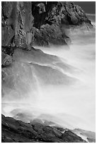 Blurred water at base of Great Head. Acadia National Park, Maine, USA. (black and white)
