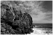 Tall granite headland. Acadia National Park ( black and white)