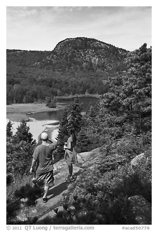 Hikers above Sand Beach. Acadia National Park (black and white)