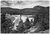 Sand Beach and Behive. Acadia National Park, Maine, USA. (black and white)