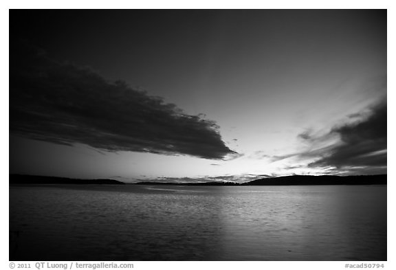 Dark clouds at dusk, Pretty Marsh. Acadia National Park (black and white)