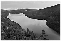 Jordan Pond from above, sunset. Acadia National Park ( black and white)