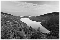 Hills, Jordan Pond, and sunset clouds. Acadia National Park ( black and white)