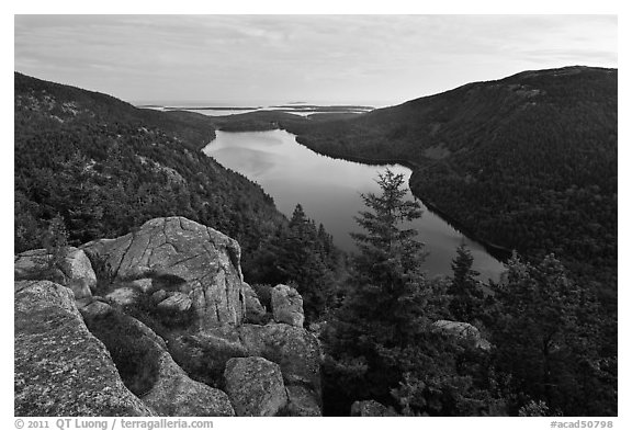 Forested hills and Jordan pond from above at dusk. Acadia National Park (black and white)