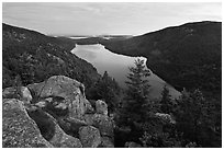 Forested hills and Jordan pond from above at dusk. Acadia National Park, Maine, USA. (black and white)