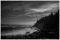 Coastline and Otter Cliffs at night. Acadia National Park ( black and white)