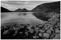 Rocks, Jordan Pond and the Bubbles. Acadia National Park, Maine, USA. (black and white)