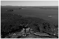 Hikers descending Champlain Mountain. Acadia National Park ( black and white)