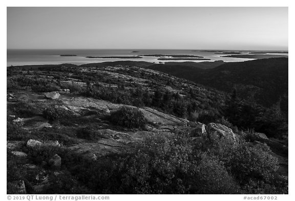 Cadillac Mountain, sunset. Acadia National Park (black and white)