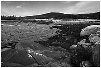 Schoodic Head from Little Moose Island. Acadia National Park ( black and white)