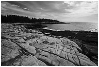Granite slabs, Little Moose Island. Acadia National Park ( black and white)