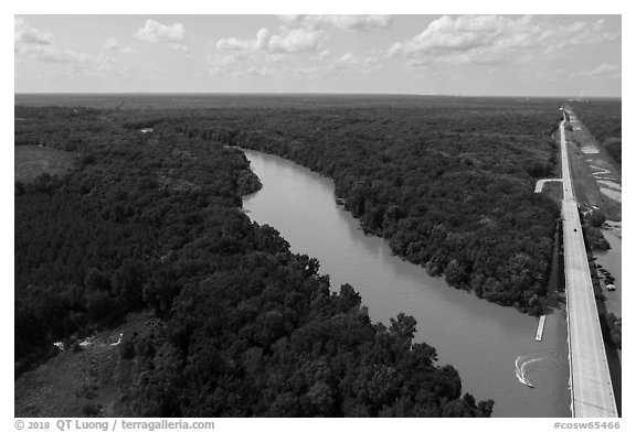 Aerial view of Congaree River, Bates Bridge and flooded landing. Congaree National Park (black and white)