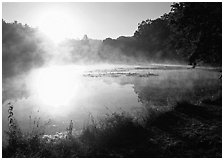 Sun shining through mist, Kendall Lake. Cuyahoga Valley National Park, Ohio, USA. (black and white)