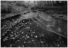 Cascading stream near Bridalveil falls. Cuyahoga Valley National Park, Ohio, USA. (black and white)