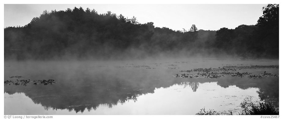 Fog rising of lake at dawn. Cuyahoga Valley National Park (black and white)