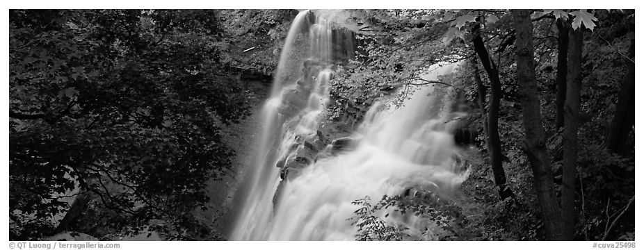 Brandywine falls flowing in autumn forest. Cuyahoga Valley National Park (black and white)