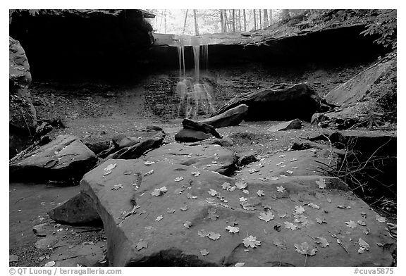 Depression with green rocks and Blue Hen Falls. Cuyahoga Valley National Park (black and white)
