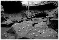 Depression with green rocks and Blue Hen Falls. Cuyahoga Valley National Park, Ohio, USA. (black and white)