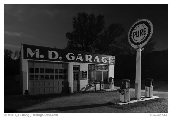 MD Garage at night. Cuyahoga Valley National Park (black and white)