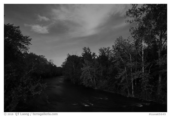 Cuyahoga River at night. Cuyahoga Valley National Park (black and white)