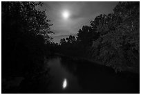 Cuyahoga River and moon at night. Cuyahoga Valley National Park ( black and white)
