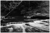 Tinkers Creek cascade, low flow, Bedford Reservation. Cuyahoga Valley National Park ( black and white)