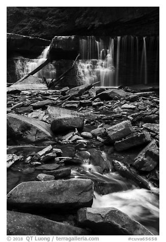 Tinkers Creek and Great Falls, low flow, Bedford Reservation. Cuyahoga Valley National Park (black and white)
